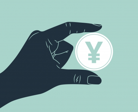 hand holding yen coin Vector