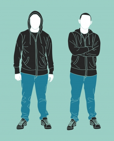 young man standing: man wearing sweatshirt silhouette