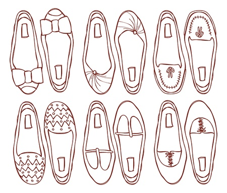 leather shoe: set of flat shoes doodle Illustration