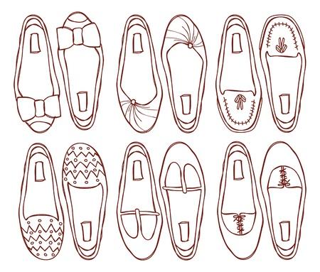 shoe model: set of flat shoes doodle Illustration
