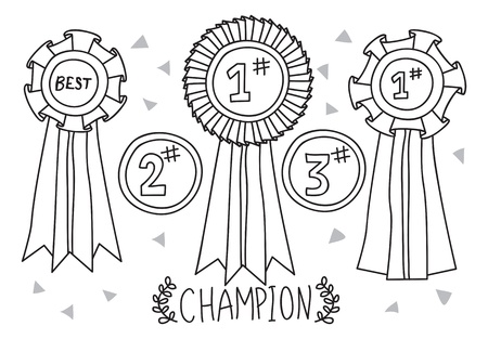 one to one: champion award doodle Illustration
