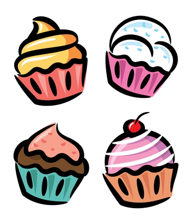 cupcake and yogurt in doodle style Vector