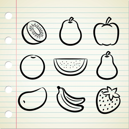 set of fruit icon in doodle style Vector