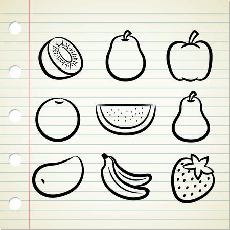 mango slice: set of fruit icon in doodle style