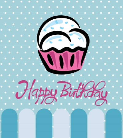 children eating: cupcake birthday card