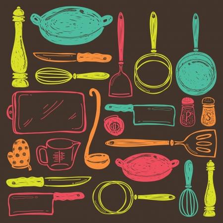 utencilios de cocina: utensilios de cocina sin costura Vectores