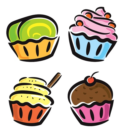cupcakes isolated: set of cupcake icon in doodle style