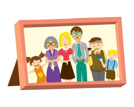 border cartoon: vintage frame with family photo
