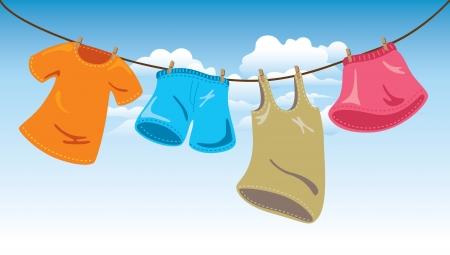 lavando ropa: colgar la ropa en el tendedero Vectores