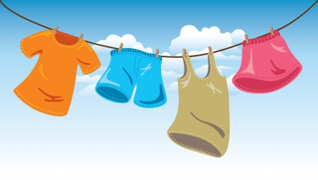 hanging clothes on washing line Vector