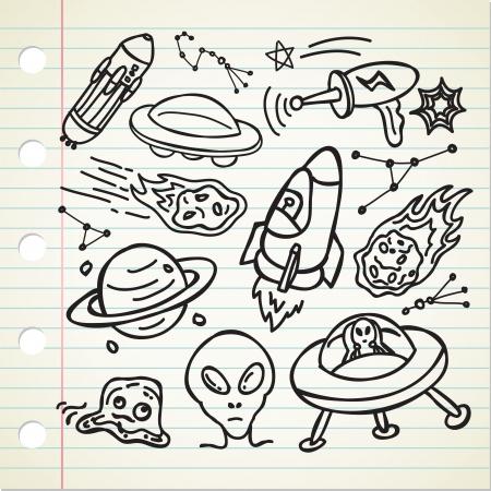 alien doodle Vector