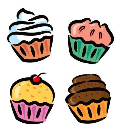 set of cupcake icon in doodle style Vector