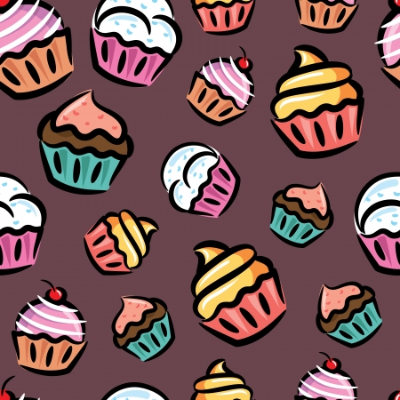 colourful candy: cupcake seamless pattern