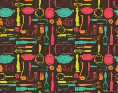 kitchen utensil seamless pattern Illustration