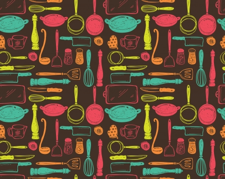 kitchen illustration: kitchen utensil seamless pattern Illustration