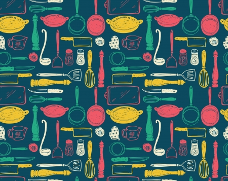 kitchen utensil seamless pattern Vector