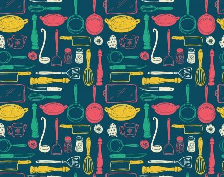 kitchen utensils: utensilio de cocina seamless pattern