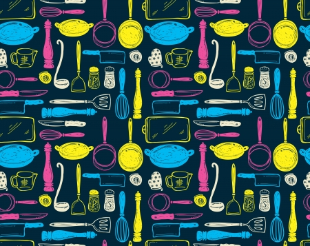 cooking icon: kitchen utensil seamless pattern Illustration