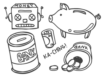 money bank doodle Vector
