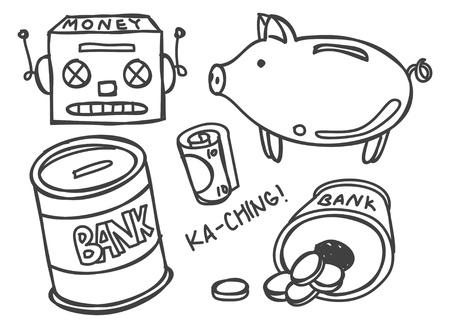 piggie bank: money bank doodle