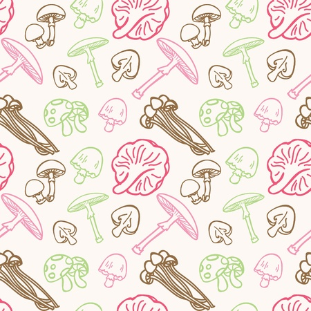 mushroom doodle seamless pattern Vector