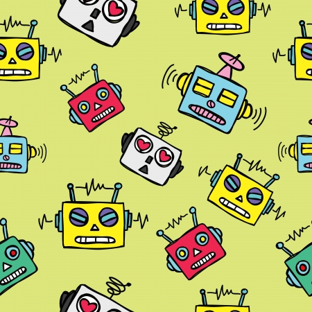 vintage robot head background Vector