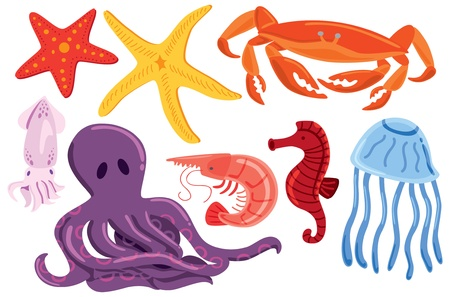 set of sea animal Vector