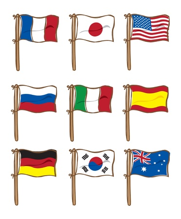 set of various flag Illustration