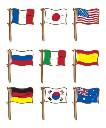 Set von verschiedenen flag Standard-Bild - 18336312