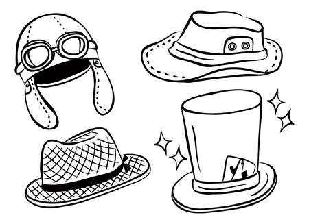 various hat doodle Vector
