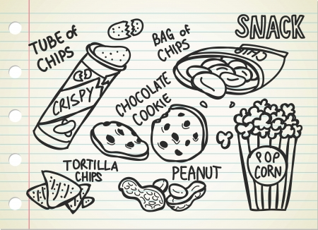 chocolate chips cookies: snack doodle Illustration