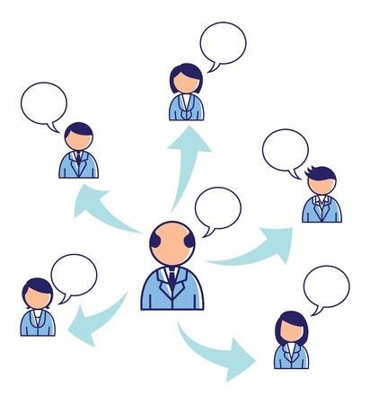 linked services: team work conceptual illustration Illustration