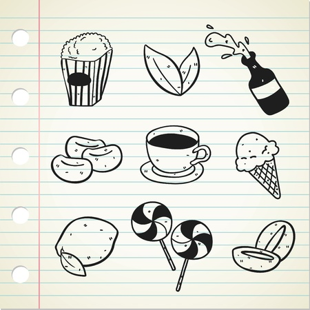 coffee leaf: set of snack icon in doodle style Illustration