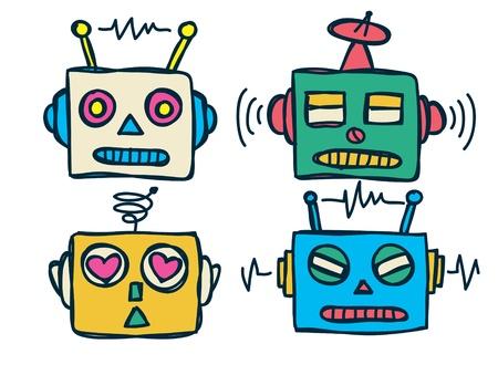 head toy: vintage robot head Illustration