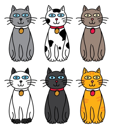 set of cat Vector