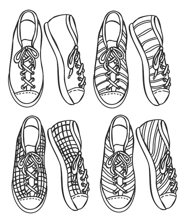 foot ware: sneaker doodle Illustration