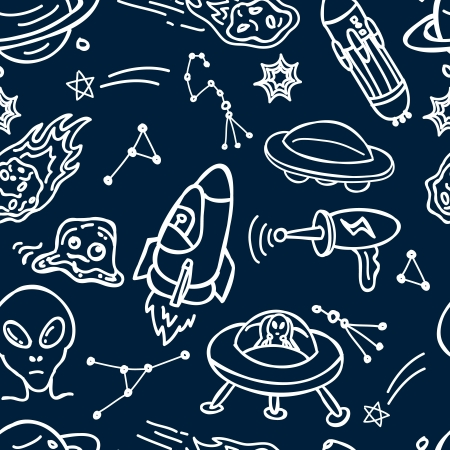 space and alien seamless pattern Stock Vector - 18436947