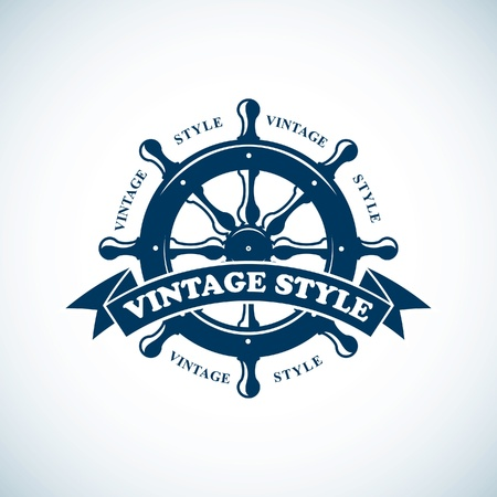 barca a vela: emblema nautica d'epoca Vettoriali