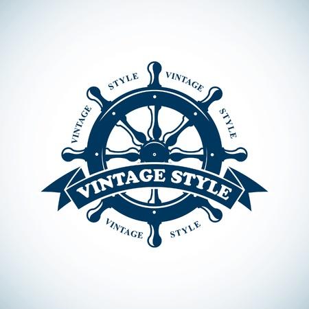 vintage tengeri embléma Illusztráció