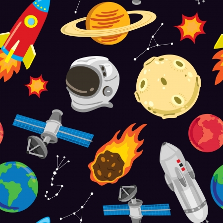 probe: space and alien seamless pattern Illustration