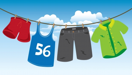 cartoon clothes: clothes on washing line