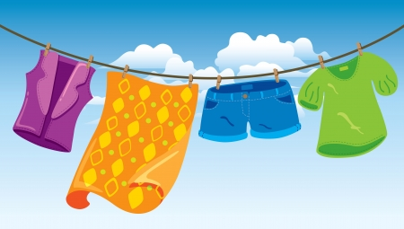 clothes on washing line Vector
