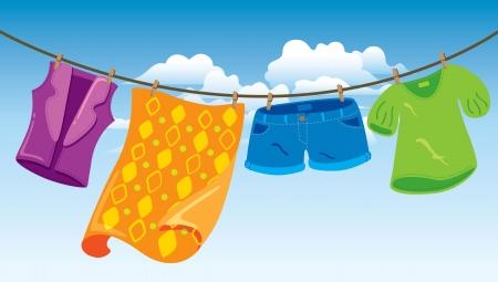 Kleidung auf der Wäscheleine Standard-Bild - 18538860
