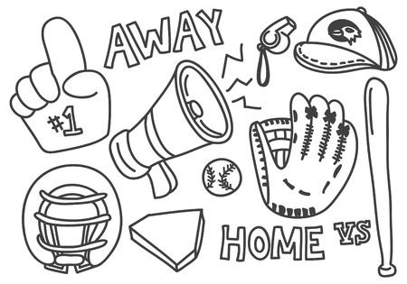 guante de beisbol: béisbol del doodle aislado en fondo blanco Vectores