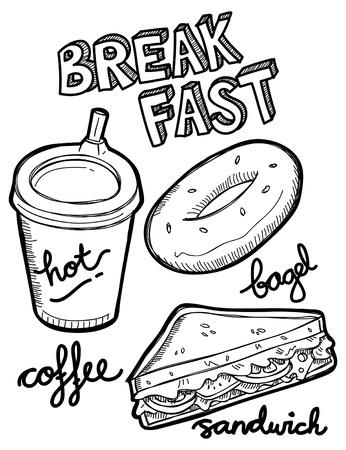 bagel: ontbijt eten en drinken doodle Stock Illustratie