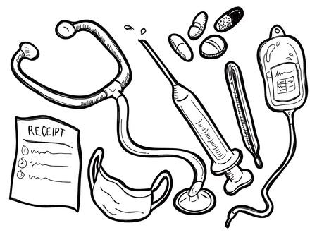 medical equipment doodle Vector