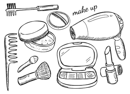 make up brush: kit di trucco Vettoriali