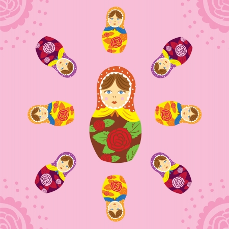 Russian Matryoshka doll seamless pattern Vector