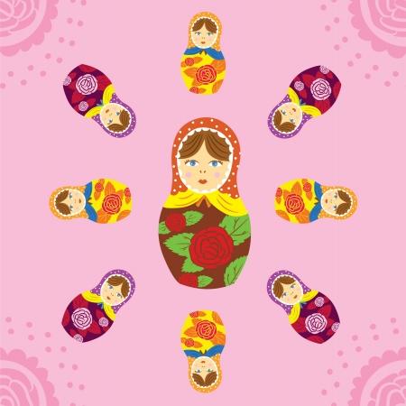 babushka: Russian Matryoshka doll seamless pattern