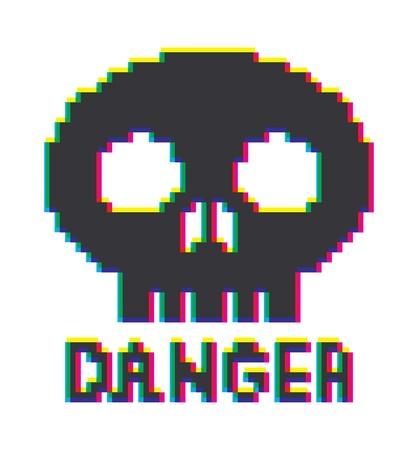 8-bit skull icon Vector